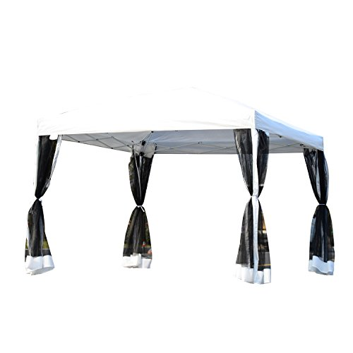 Outsunny 10' x 10' Pop-up Canopy Vendor Tent with Removeable Mesh Walls, Easy Setup Design, Travel Bag Included Silver