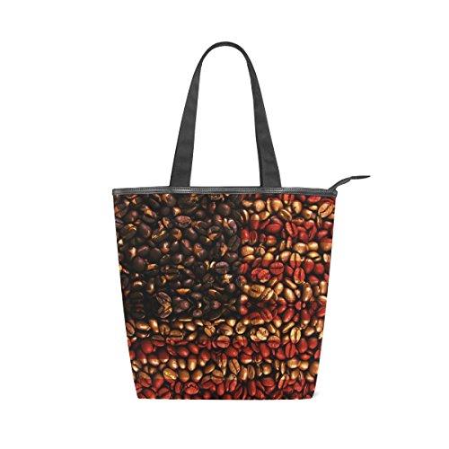 alaza Tote Canvas Schultertasche USA-amerikanische Flagge Kaffeebohnen Handtasche