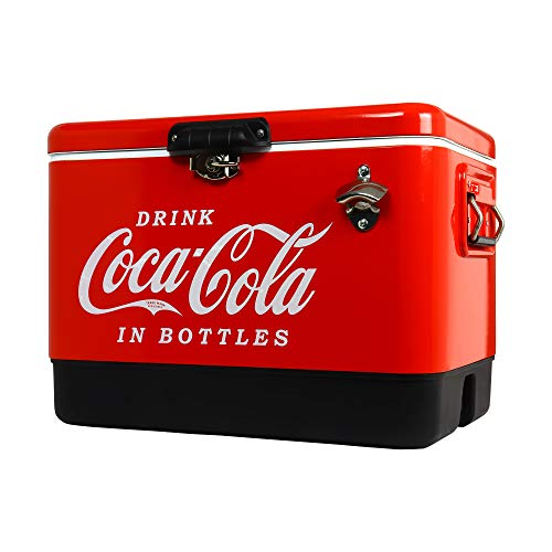 Ice Chest Beverage Cooler with Bottle Opener 51 Litre /54 Quart, Red, Perfect Gift, Easy Cleaning, Use for Camping, Beach, RV, BBQs, Tailgating, Fishing