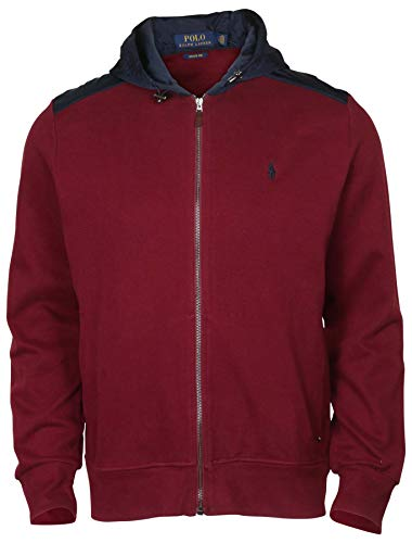 Polo Ralph Lauren Mens Zip-Up Fleece Sweater with Waterproof Hood (X-Large, Red)