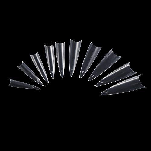 500pcs/box Chaud Cristal Luxueux Ongle Chaussures ultra - longues, transparentes et fines Acrylic gel salon Faux ongle Demi - bouchon(Transparent)