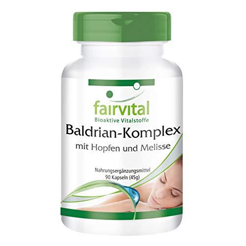 Baldrian Komplex - HOCHDOSIERT - VEGAN - 90 Kapseln - mit Hopfen und Melisse