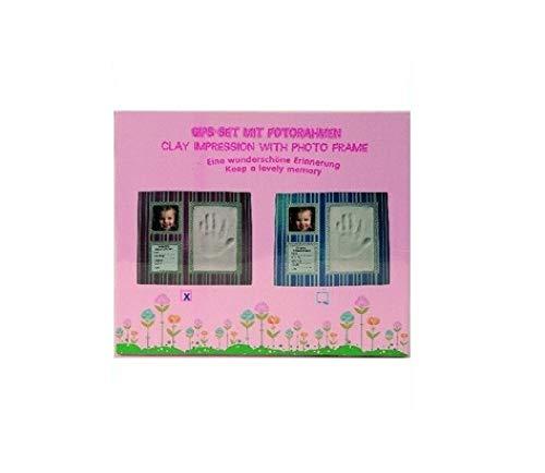 Bavaria Home Style Collection, empreintes de plâtre à la main pour bébé Motif empreintes de bébé Rayures roses