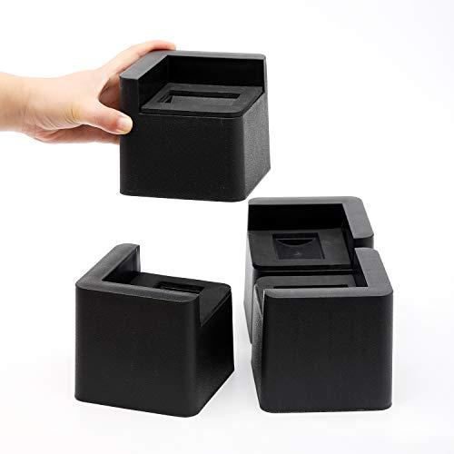 FONDDI Meubeler hoger 3 inch voor zwenkwielen - Heavy Duty 3 inch zwart vierkant meubels risers set van 4 - anti-slip pad voor bureau, bank, bank, stoel, woonhuis