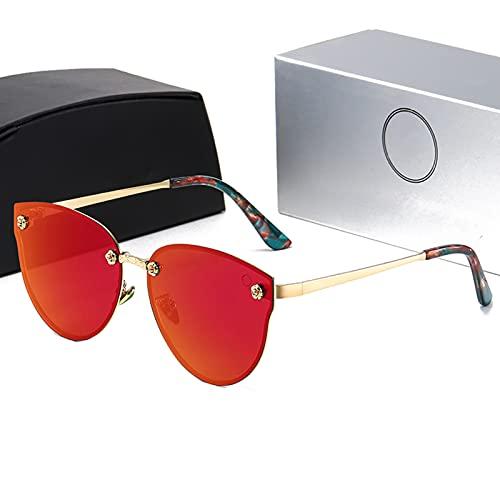 HQPCAHL Gafas De Sol Polarizadas De Ojo De Gato para Mujer, Montura Metálica, Lentes De Espejo Planas, Gafas De Sol De Moda para Mujer, Ojos De Gato,Rojo