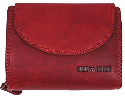 Hill Burry hochwertige Leder Geldbörse RFID | Große XXL Brieftasche - Kompakt mit viel Platz | Echt-Leder Portemonnaie - Kreditkartenetui - Portmonee (Rot)