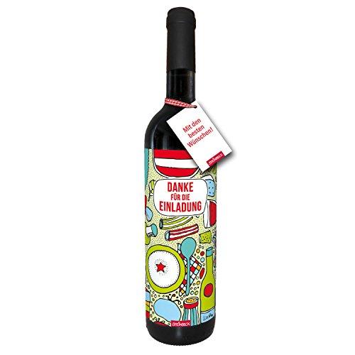 STEINBECK Wein Danke für die Einladung Geschenk Gastgeber trockener Rotwein aus Spanien 100% Tempranillo Valdepenas Mitbringsel Essen Geburtstag Mann Grillabend Dinner