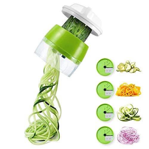 Ossky Spiralizzatore di Verdure Tagliapasta per Verdure 4 in1 Multifunzione Affetta Verdure per zucchine, Carota, Cetriolo, Patate, Zucca, Cipolla Spiralizer Creativo Taglierina Mano