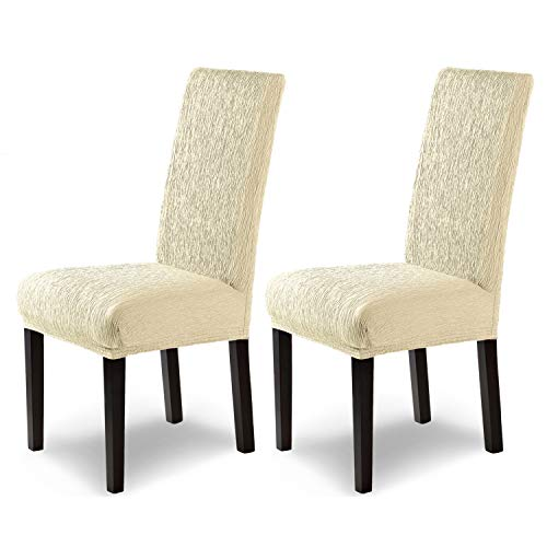 SCHEFFLER-Home Stretch Stuhlhusse Jara | 2er Set elastische Stuhlabdeckungen in feinem Raff-Look | Stuhlhussen Schwingstühle | Spannbezug mit Gummiband | Elegante Stuhlbezüge