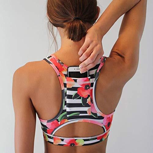 Sujetador Deportivo De Yoga para Mujer Gym Workout Top Wirefree Racerback con Bolsillo para TeléFono Ropa Interior Deportiva para Damas,A,S