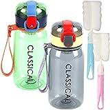 Fiyuer Bottiglia Acqua Bambini 4 PCS borracce Sportive plastica Water Bottle Spazzola in Spugna per Bottiglie Sport Scuola Ciclismo Ufficio Palestra 400 ml