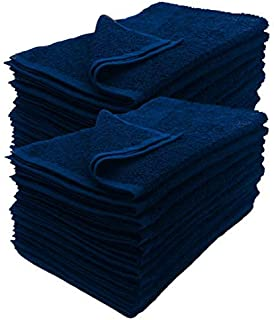 Cotton Salon Towels - Gym Towel - Hand Towel - (12-Pack, Black) - 16 inches x 27 inches, Not Bleach Proof - Ring-Spun Cotton - Maximum Softness and Absorbency, Easy Care (12) (Navy)