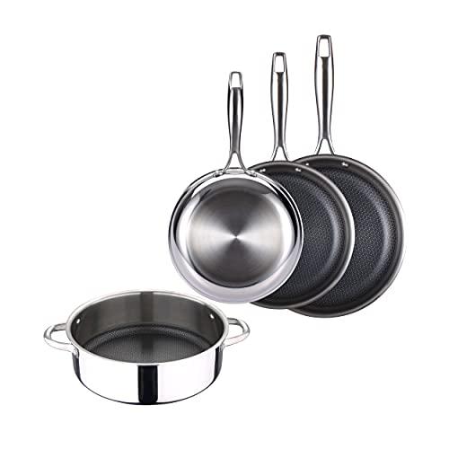 Masterpro Hi-Tech 3 - Juego de 3 Sartenes de 20, 24 y 28 cm y Cacerola Baja de 28 cm, Acero Inoxidable, Antiadherente Try-Ply, Apto para todas cocinas incluido Inducción, Mango Ergonómico, Sin PFOA