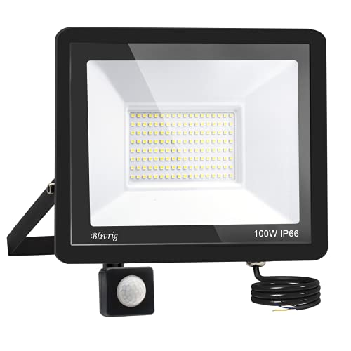 Blivrig Projecteur LED détecteur de mouvement 100W,10000LM IP66 Imperméable Spot LED Extérieur Puissant,Blanc Chaud(3000K) eclairage exterieur led pour Jardin Terrasse Garage Patio Grange Cour