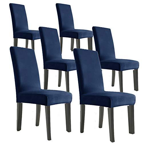 MAXIJIN Lot de 6 housses de chaise en velours extensible amovibles pour chaises de salle à manger, hôtel, cuisine, cérémonie (bleu marine, 6)