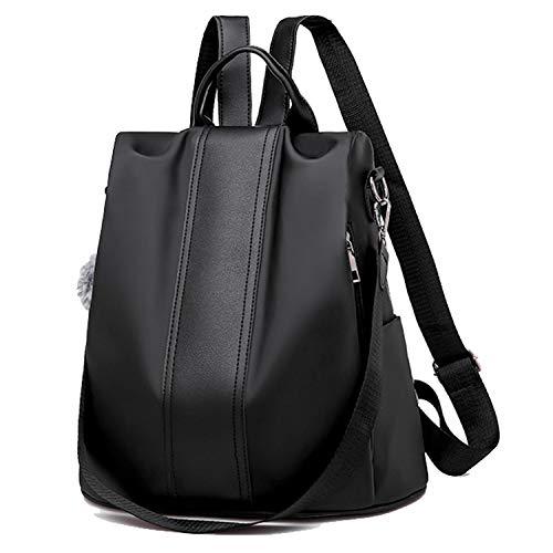 Women Backpack Purse Waterproof Nylon Fabric Anti-theft Rucksack With Plush Pendant Shoulder Bag For Shopping Travel Large-capacity Schoolbag (Black Nylon)