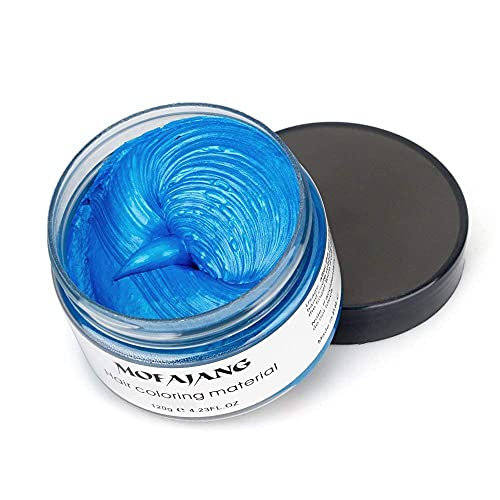 MOFAJANG Hair Coloring Dye Wax, Instant Hair Wax, Temporary Hairstyle Cream 4.23 oz, Hair Pomades, Natural Hairstyle Wax for Men and Women Party Cosplay (Blue)