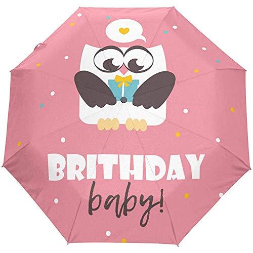 Alles Gute zum Geburtstag Owl Cute Auto Open Umbrella Sonnenregen Regenschirm Anti UV Folding Compact Automatic Umbrella