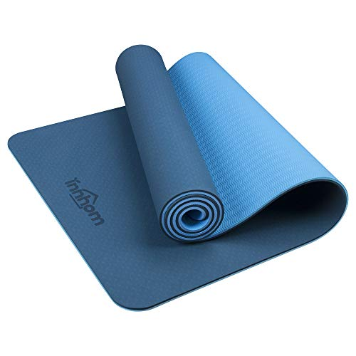 Yoga Mat innhom Non Slip Yoga Mats for Women Men Thick Exercise Mat for Yoga Pilates Workout Mat for Yoga Home Gym Fitness Mat with Carrying Strap, 5/16 inch (8mm), Blue