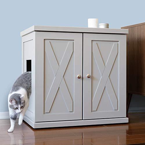 THE REFINED FELINE Cat Litter Box Enclosure Cabinet, Hidden Litter Tray Cat Furniture, Large + XLarge, Farmhouse Style…