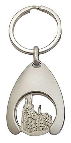 Schlüsselanhänger Kölner Dom mit Einkaufschip | Silber Metall | Anhänger mit Chip