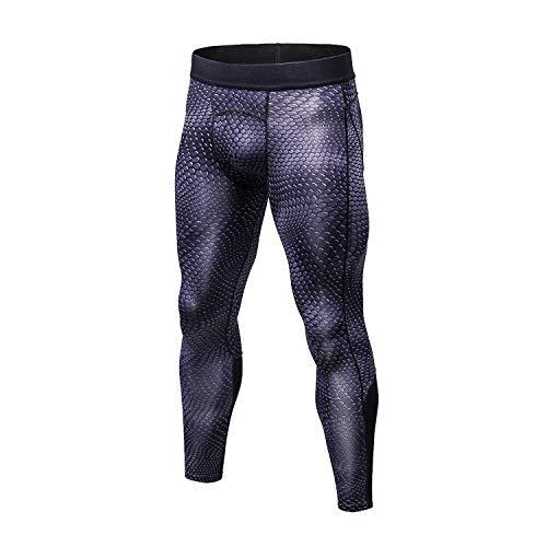 Bmeigo Men Workout Leggings 3D Running Gym Exercise Compression Tights Sport Pants - Black - 175/140(XL)