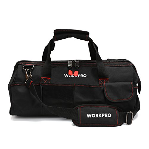 "WORKPRO Close Top Storage Tool Bag, 18"", Black/Red, W081023A"