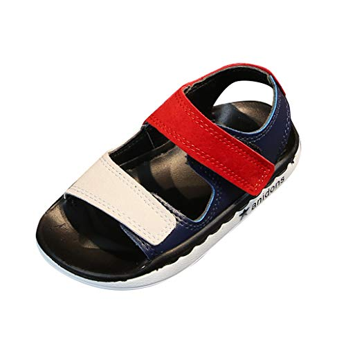 TIANRUN Toddler Summer Shoes Infant Kids Baby Girls Boys Unisex Color Block Soft Beach Shoes Sandals Red