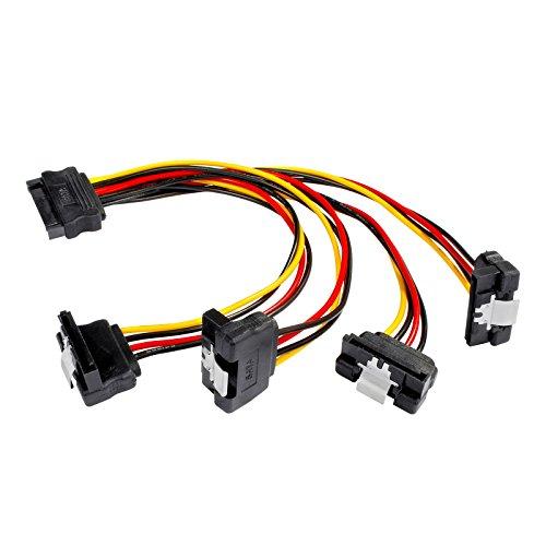 Poppstar 20cm SATA Stromkabel Adapter (vierfach) (1x Stecker (m) auf 4X Buchse (w) gewinkelt), Stromadapter für HDD, SSD, Festplatte, Motherboard
