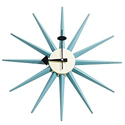 SHISEDECO Mid Century Retro Design George Nelson Sunburst Clock Blue Color Silent Wooden Decorative Modern Silent Wall Clock (Full Range Available) (Nelson Sunburst Clock Blue Color)