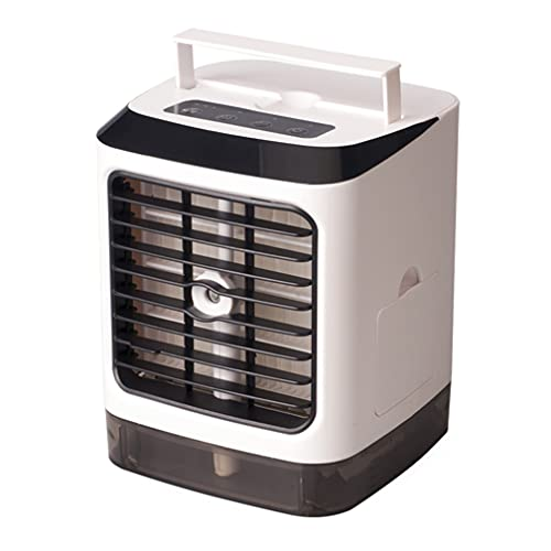 FOMT Aire Acondicionado Portátil,Mini Enfriador De Aire USB Ventilador De Enfriamiento De Aire Portátil Aire Acondicionado Pequeño Humidificador Ventilador De Escritorio + Fregadero,Blanco