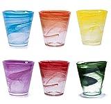 Pami Bicchieri Acqua Colorati Vetro, Bicchieri Vino, Tumbler Colorati, Bicchieri Cocktail, Bicchieri Aperitivo, Bicchieri Vetro,L'Originale, Set 6 Bicchieri Alabaster (Mix Multicolore) (1 Confezione)
