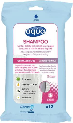 Aqua Shampoo Gants de toilette pré-imbibés sans rinçage (paquet de 12 gants)