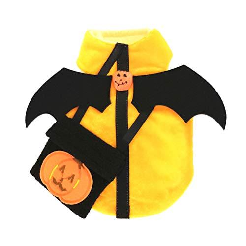 Fantasia de Dia das Bruxas para Cachorro Balacoo Fantasia de Dia das Bruxas Asas de Morcego Estilo Abóbora Fantasia de Animais de Estimação Roupa de Halloween para Cães e Gatos (2GG)