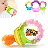 BabyGo Organic Baby's BPA-Free Silicone Nipple Food Nibbler for Fruits with Rattle Handle