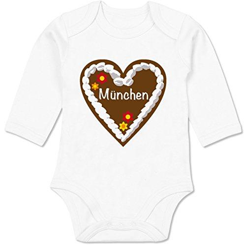 Shirtracer Oktoberfest Baby - Lebkuchenherz München - 3/6 Monate - Weiß - Tradition - BZ30 - Baby Body Langarm