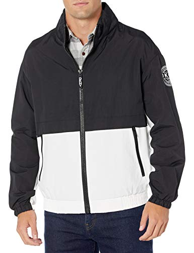 DKNY Men's Water Resistant Taslan Windbreaker Jacket, Black/White, X-Large