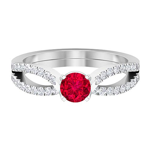 Anillo solitario de rubí de 0,65 quilates, 1,3 mm, anillo de diamantes HI-SI, anillo de compromiso de oro (rubí redondo de 5 mm), 14K Oro blanco, Rubí, Size:EU 62
