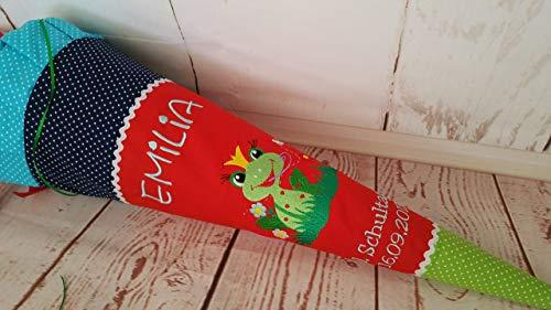 #136 Frosch Schultüte Stoff + Papprohling + als Kissen verwendbar