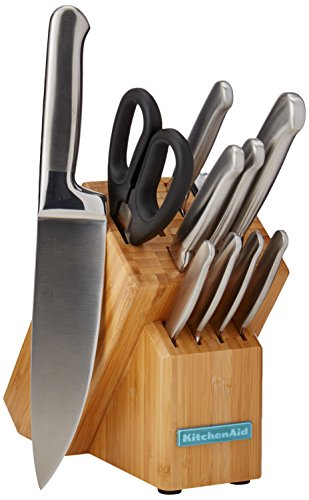 KitchenAid Classic Forged 12-Piece Brushed Stainless Cutlery set, pc, Brown