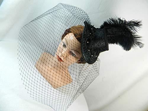 Midi Damen Zylinder schwarz Jacquard Hutnetz Birdcage Hut Damenhut Anlass-Hut