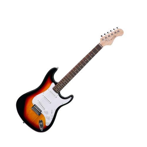 Rocktile Sphere Classic Sunburst E-Gitarre (weißes Schlagbrett, 3x Single Coil Tonabnehmer, 21 Bünde, Palisander Griffbrett, Tremolo-Bridge, inklusive 2,5m Gitarrenkabel, Tremolohebel, Inbusschlüssel)