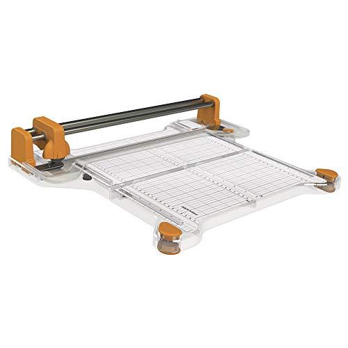 Fiskars ProCision Cizalla Rotatoria, A4, Para materiales extra gruesos, Sistema de riel doble, Naranja/Blanco, 1015748
