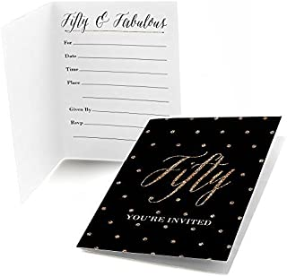 Big Dot of Happiness Chic 50th Birthday - Black and Gold - Fill in Birthday Party Invitations (8 Count)