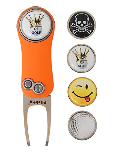 RoLoGOLF Pitchfix Hybrid 2.0 - aufklappbare Pitchgabel in orange incl. 1 Golfball-Marker mit Motiv