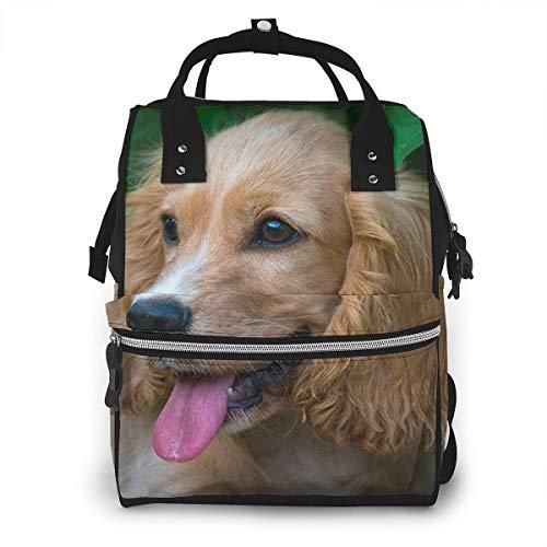 Bolsa de viaje multifunción, mochila para pañales de bebé para mamá, bolsas de escuela de gran capacidad, resistente al agua y elegante diseño personalizado, Cocker Spaniel inglés cachorro