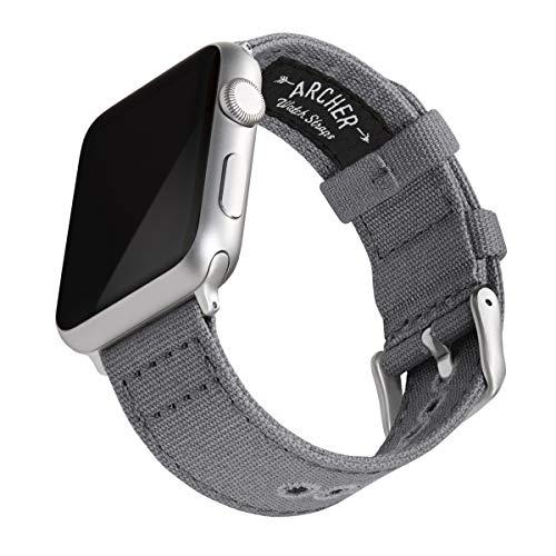 Archer Watch Straps - Canvas-Uhrenarmband für Apple Watch (Schiefergrau, Silber, 42/44mm)