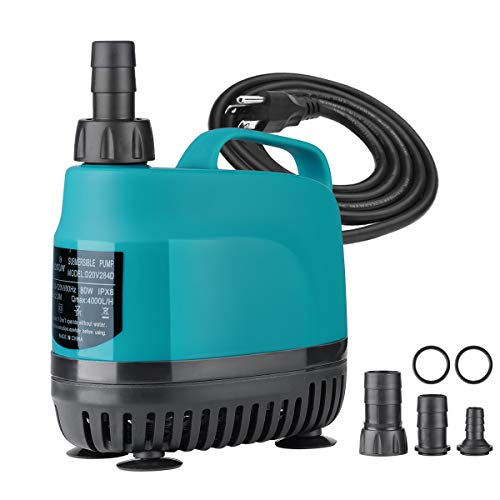 KEDSUM 1060GPH Submersible Water Pump(4000L/H, 80W), Ultra Quiet Submersible Pump with 11.5ft High Lift, Aquarium Pump with 5.9ft Power Cord, 4 Nozzles for Fountain, Pond, Fish Tank