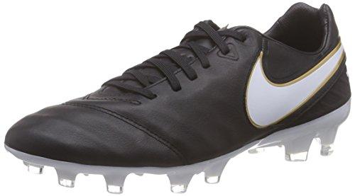 Nike Tiempo Legacy II FG, Scarpe da Calcetto Uomo, Nero (Black/White-Metallic Gold 010), 42 EU