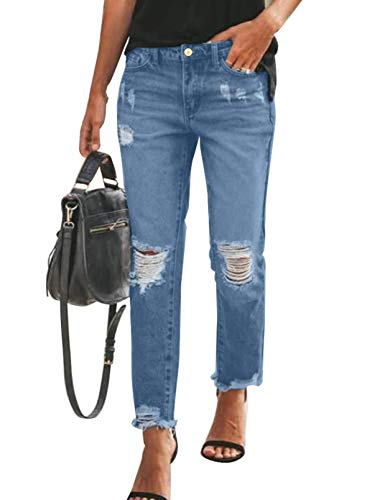 Sidefeel Women's Loose Boyfriend Jeans Stretchy Ripped Distressed Denim Pants Small Blue